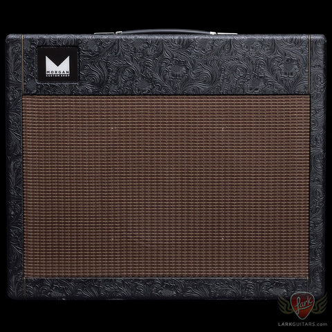 Morgan Amplification Custom Shop 1x12 Cabinet w/G12H Creamback - Black Western Tolex w/Brown Grill (002)