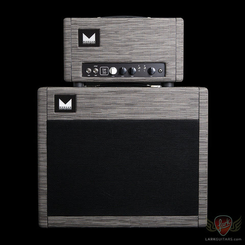 Morgan Amplification Custom Shop SW50 Head & 1x12 Cabinet w/G12H Creamback - Grey Flannel Chilewich (19B) - Available at Lark Guitars