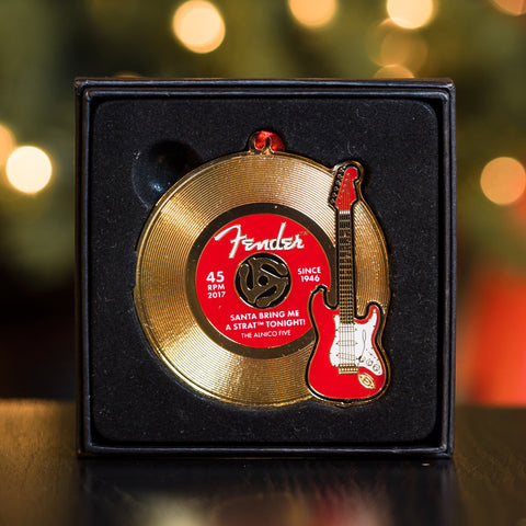 Fender Limited Edition 2017 Holiday Ornament - Red Stratocaster & Gold Record - Available at Lark Guitars