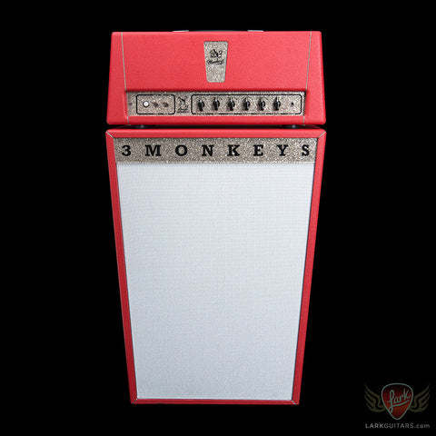 Pre-Owned 3 Monkeys Grease Monkey II Head & 2x12 Cabinet - Red (078) - Available at Lark Guitars