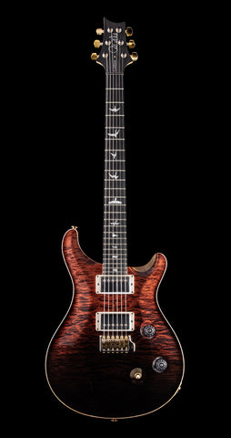 PRS Wood Library Custom 24 Artist Quilt Top, Maple Neck, Ebony FB - Fire Red to Gray Black Fade (060)
