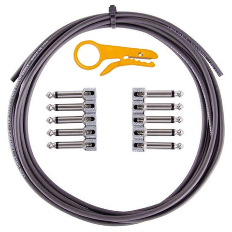 Lava TightRope Solder-Free Kit: 10' Cable & 10 Right Angle Plugs - Black - LCTRKTB - Available at Lark Guitars
