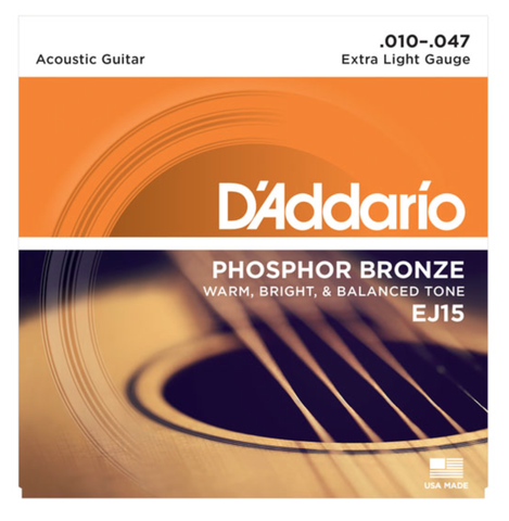 D'Addario EJ15 Phosphor Bronze Extra Light Acoustic Strings 10-47 - Available at Lark Guitars