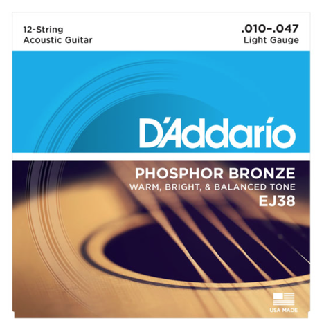 D'Addario EJ38 12-String Phosphor Bronze Light Acoustic Strings 10-47 - Available at Lark Guitars