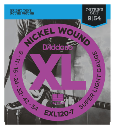 D'Addario EXL120-7 7-String Nickel Wound Super Light Electric Strings 9-54 - Available at Lark Guitars
