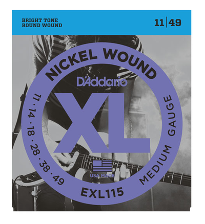 D'Addario EXL115 Nickel Wound Medium/Blues-Jazz Electric Strings 11-49 - Available at Lark Guitars