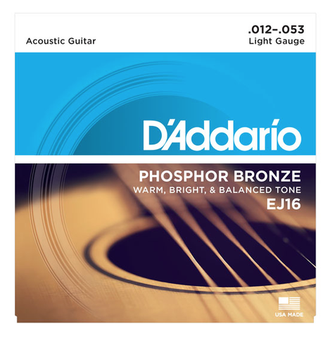 D'Addario EJ16 Phosphor Bronze Light Acoustic Strings 12-53, D'Addario - Lark Guitars
