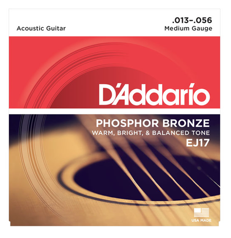 D'Addario EJ17-10P 10-Pack Phosphor Bronze Medium Acoustic Strings 13-56 - Available at Lark Guitars