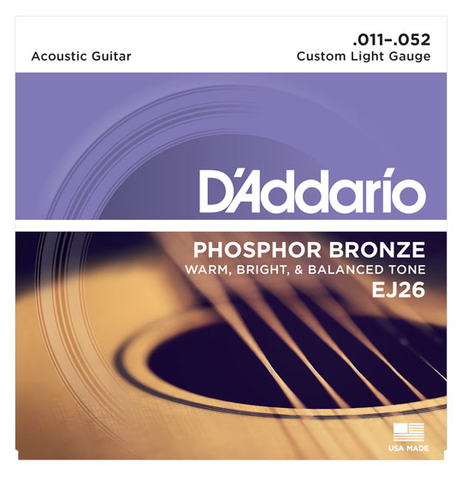 D'Addario EJ26 Phosphor Bronze Custom Light Acoustic Strings 11-52 - Available at Lark Guitars
