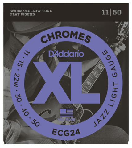 D'Addario ECG24 Chromes Flat Wound Jazz Light Electric Strings 11-50 - Available at Lark Guitars