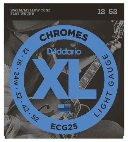 D'Addario ECG25 Chromes Flat Wound Light Electric Strings 12-52 - Available at Lark Guitars