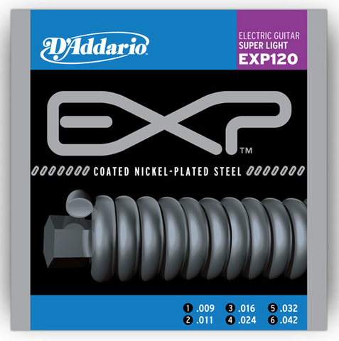 D'Addario EXP120 Coated Nickel Wound Super Light 9-42 - Available at Lark Guitars