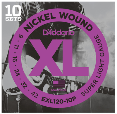 D'Addario EXL120-10P Nickel Wound Super Light Electric Strings 9-42 - 10-Pack - Available at Lark Guitars