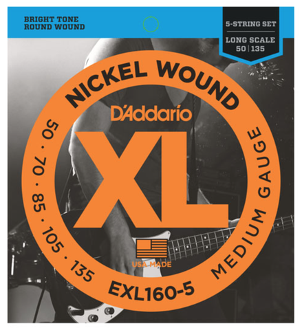 D'Addario EXL160-5 5-String Nickel Wound Medium Bass Strings 50-135 - Available at Lark Guitars