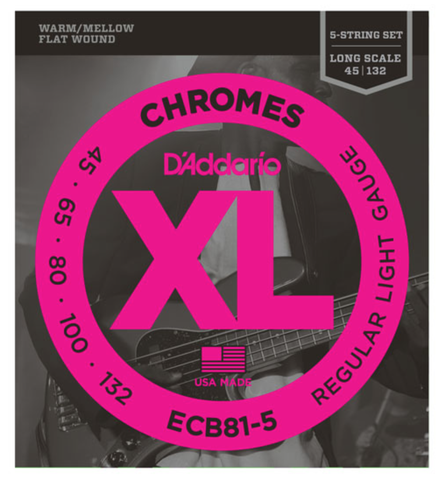D'Addario ECB81-5 5-String Chromes Flat Wound Regular Light Bass Strings 45-132 - Available at Lark Guitars