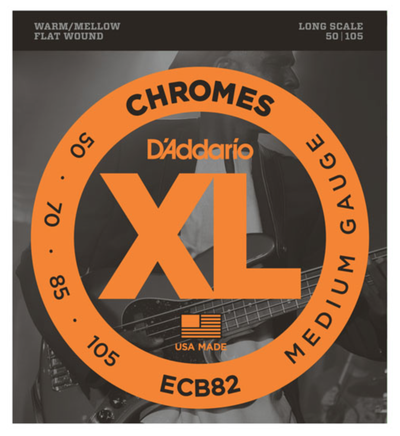 D'Addario ECB82 Chromes Flat Wound Medium Bass Strings 50-105 - Available at Lark Guitars