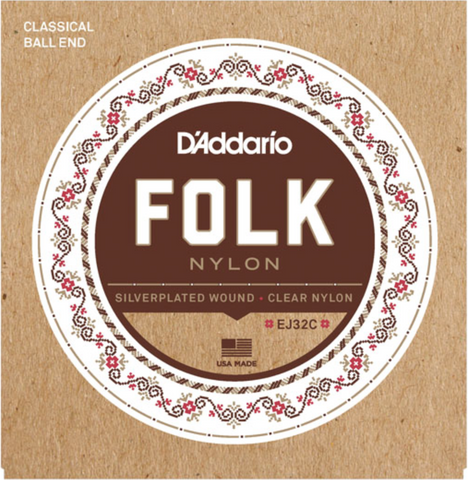D'Addario EJ32C Folk Nylon Ball End Silver Wound/Clear Nylon Trebles - Available at Lark Guitars