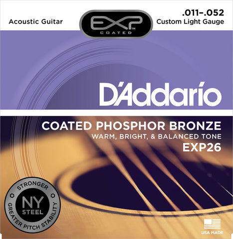D'Addario EXP26 Coated Phosphor Bronze Custom Light Acoustic Strings 11-52 - Available at Lark Guitars