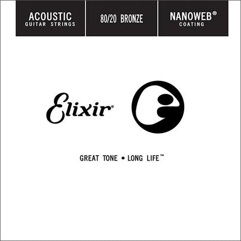 Elixir 15126 80/20 Bronze NANOWEB Single String 4-Pack - .026