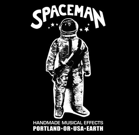 Spaceman Effects T-Shirt Black w/White Print - Small - Available at Lark Guitars