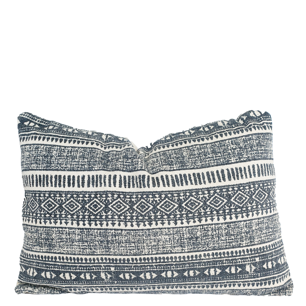 Blue And Natural Cotton Pillow