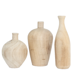 Natural Wooden Vases, Set of 3