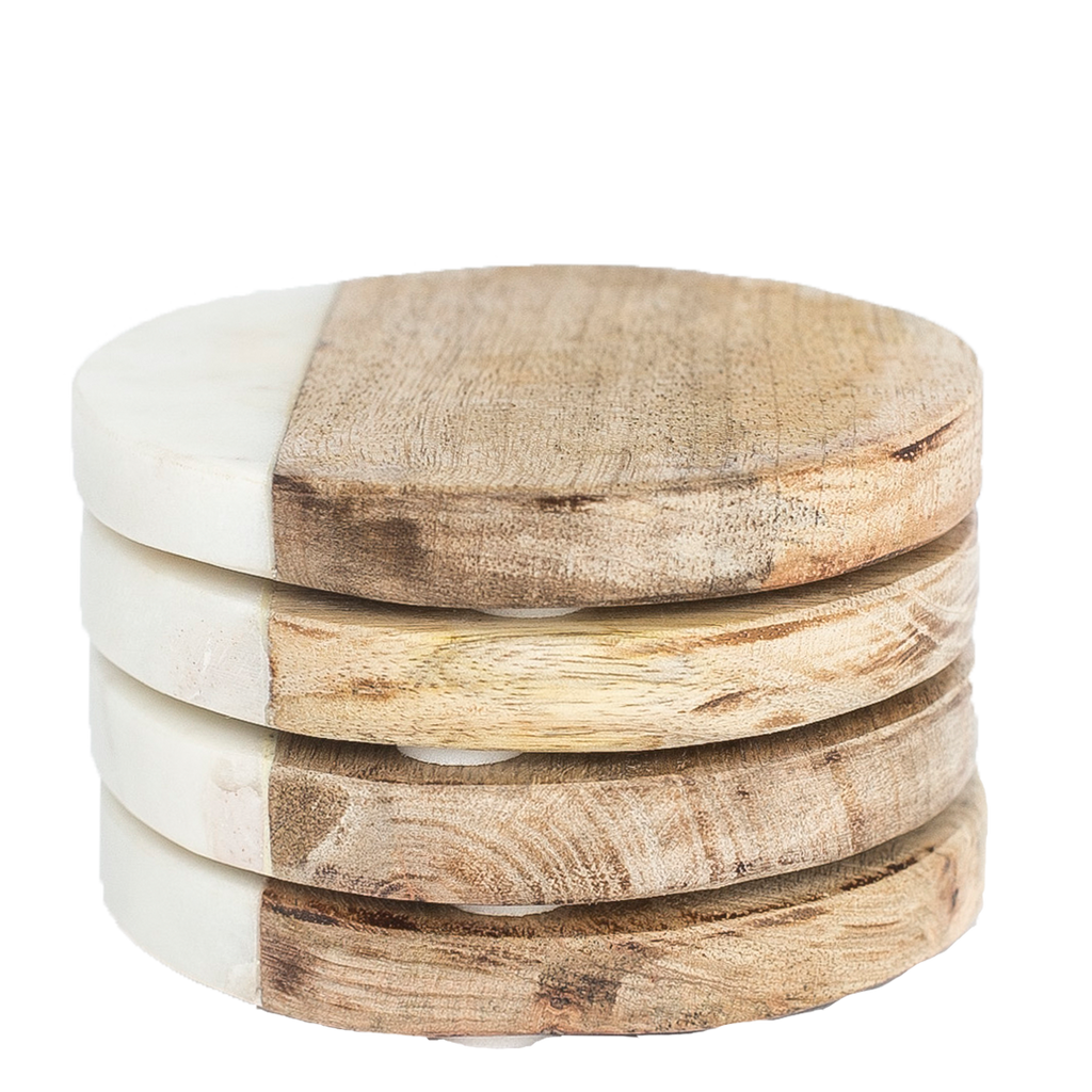 Marble & Wood Coasters, Set of 4