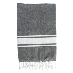 Black with White Stripe Cotton Throw