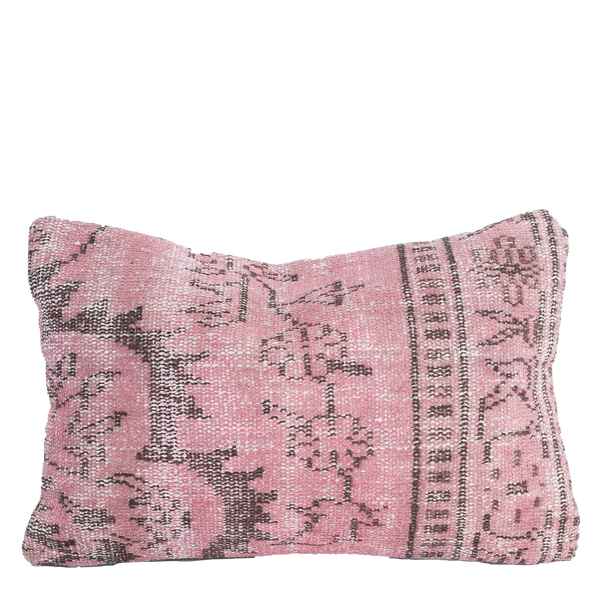 Vintage Turkish Rug Pillow Cover, Pink