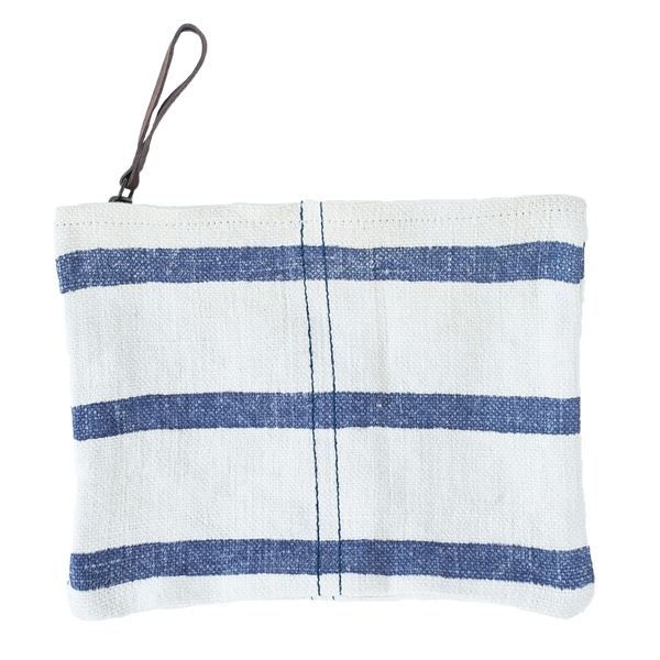 Washed Linen Striped Pouch