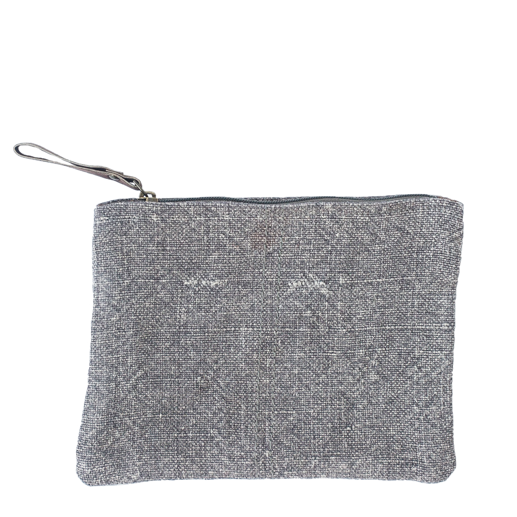 Washed Linen Gray Pouch