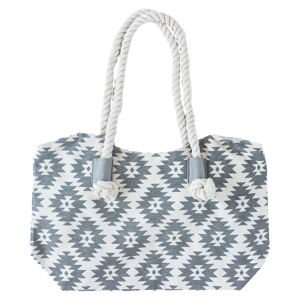 Gray Patterned Boho Tote