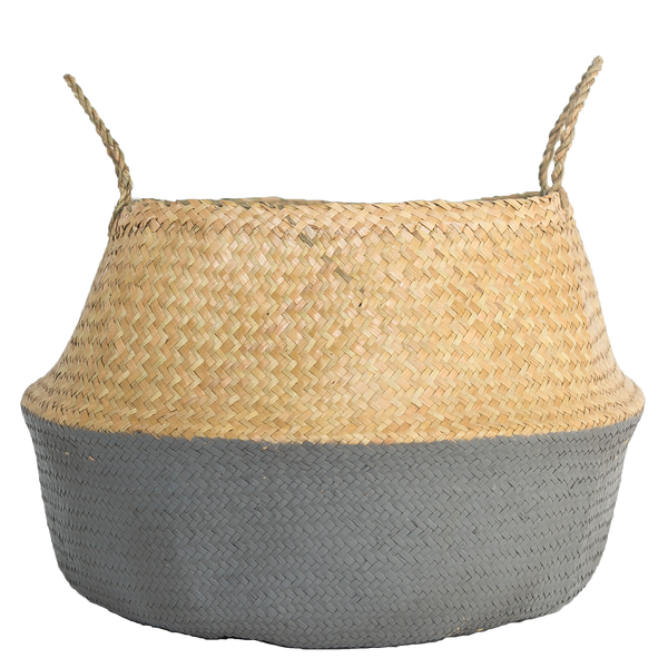 Natural and Gray Seagrass Basket