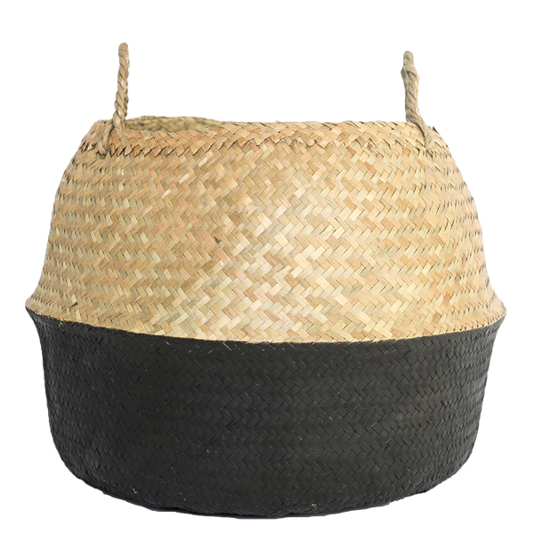 Natural And Black Seagrass Basket