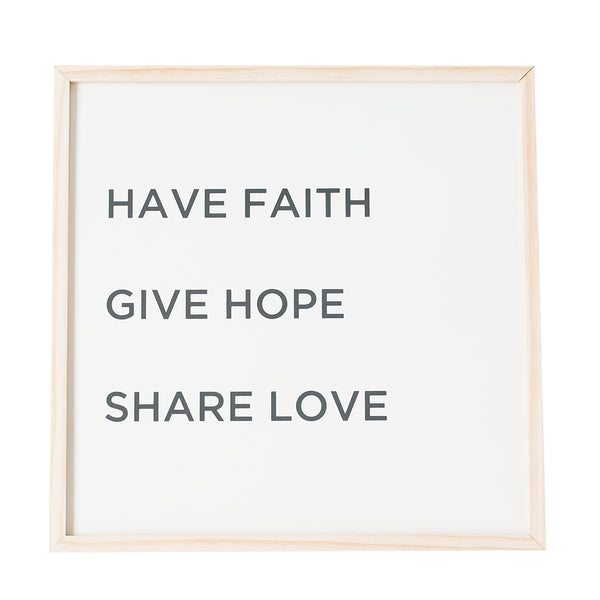 Faith Hope Love wooden sign