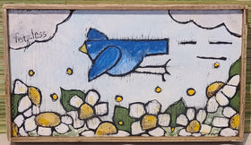 Blocks - Framed Blue Bird