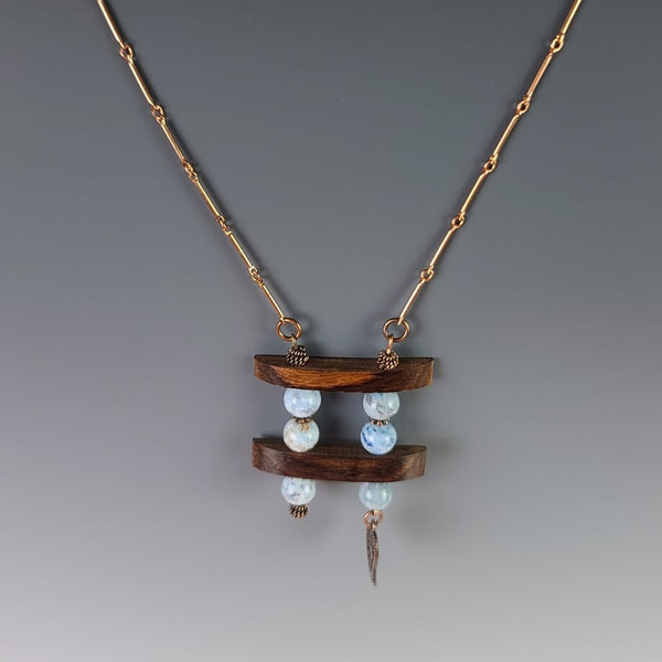 Necklace - Copper Wood with Turquoise Jasper