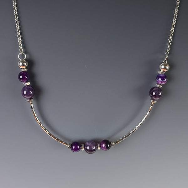 Necklace - Silver with Amethyst Beads