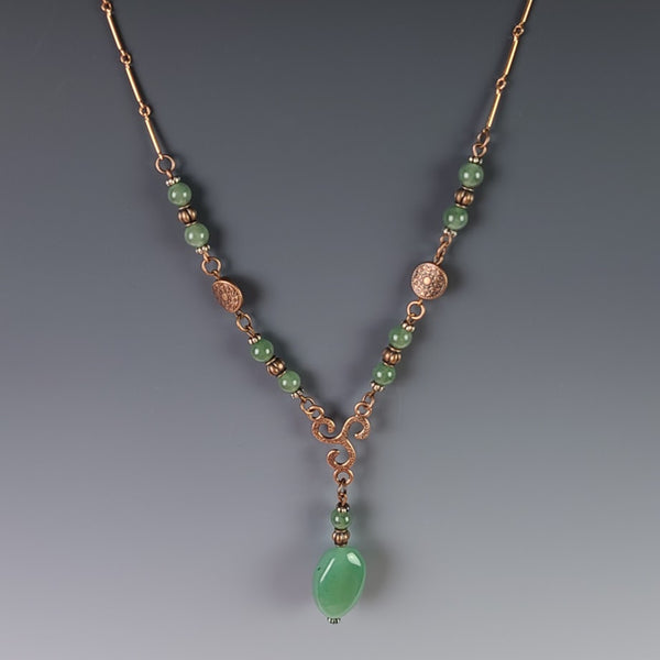 Necklace - Copper with Green Jade