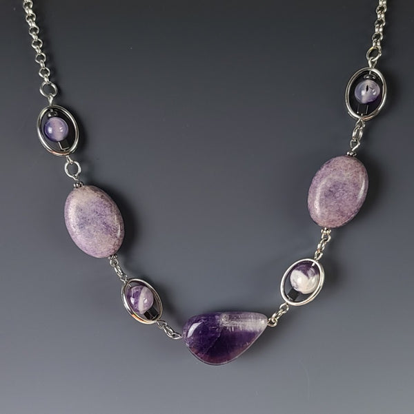 Necklace - Silver Chain with Amethyst