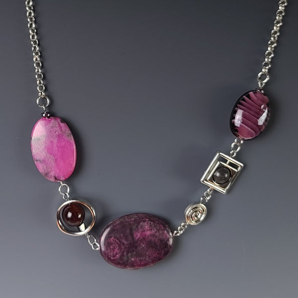 Necklace - Silver with Amethyst