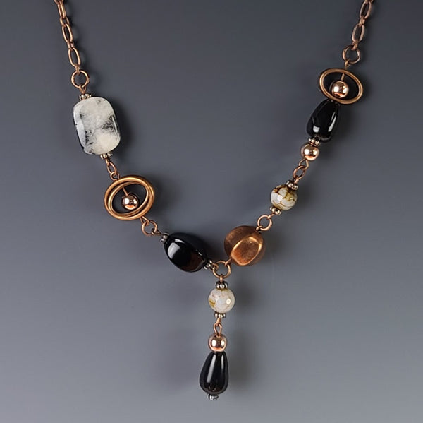 Necklace - Copper with Jade & Black Beads