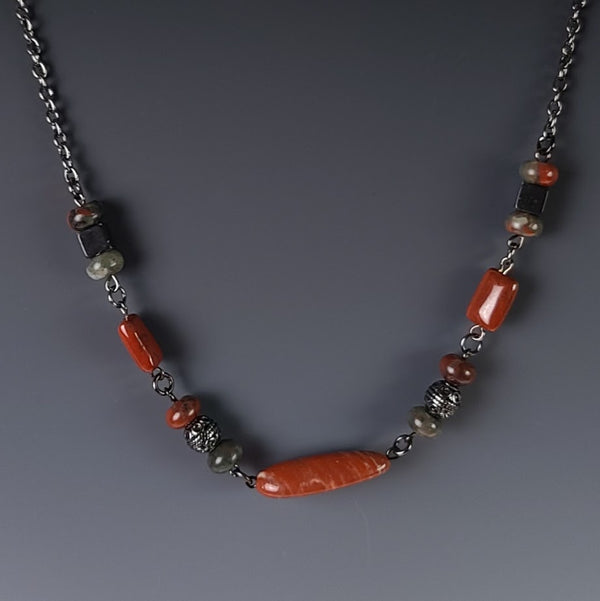 Necklace - Black Chain with Fire Agate