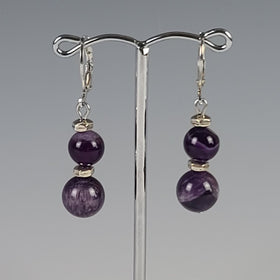 Earrings - Silver with Amethyst Beads