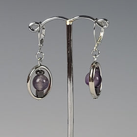 Earrings - Silver with Amethyst