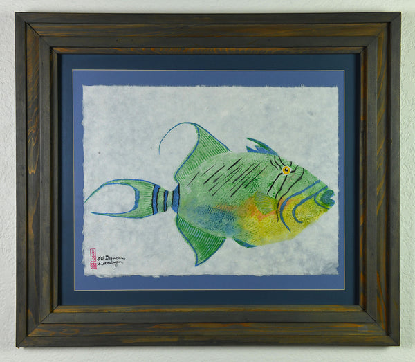 Gyotaku - Queen Trigger Fish