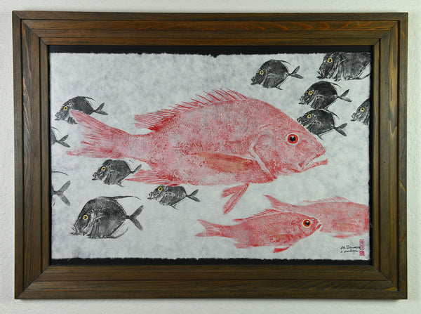 Gyotaku - Red Snapper - Lookdown