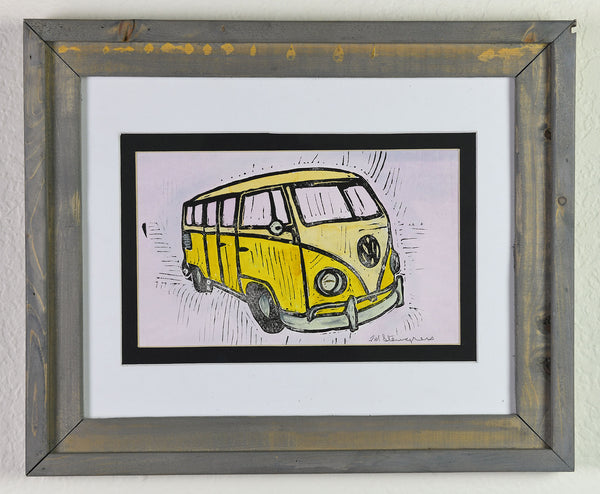 Linocut - Yellow VW Bug
