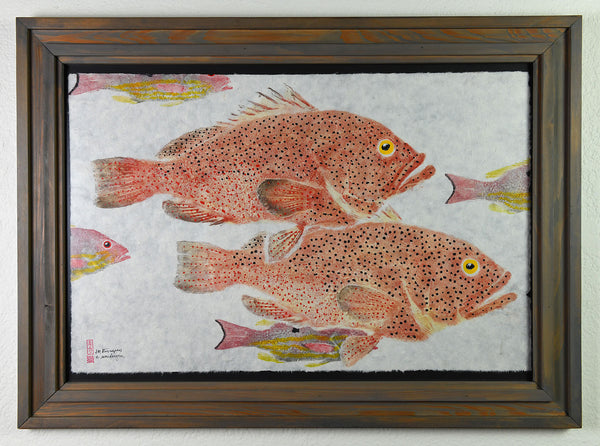 Gyotaku - Strawberry Grouper and Lane Snapper