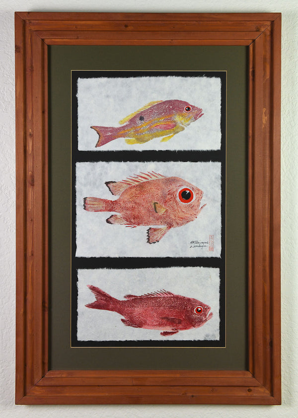 Gyotaku - Lane Snapper and Atlantic Bigeye/Toro Snapper and Beeline Snapper